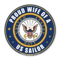 Proud Wife of a U.S. Sailor Circle Magnet