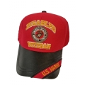 DISABLED MARINE VETERAN HAT - LEATHER BILL