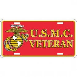 LICENSE PLATE - USMC MARINE VETERAN