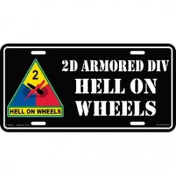 LICENSE PLATE - ARMY , 2ND ARMORED DIV.