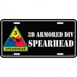 LICENSE PLATE - ARMY 3RD ARMORED DIV.