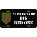 LICENSE PLATE - ARMY , 1ST INFANTRY DIV. - BIG RED ONE