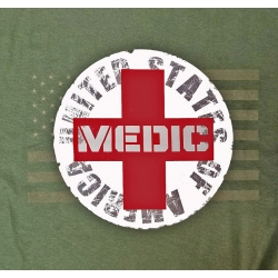 MEDIC T-SHIRT / WITH SUBDUED FLAG IN BACKGROUND