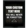 YOU WILL NEVER BE FORGOTTEN - CUSTOM SERVICE PLAQUE