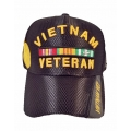 VIETNAM VETERAN MESH HAT - BLACK WITH MEDAL EMBROIDERY