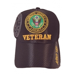 ARMY VETERAN MESH HAT - BLACK WITH VETERAN EMBROIDERY