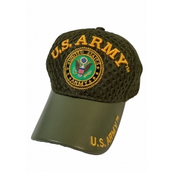 ARMY OD GREEN MESH TOP HAT WITH LEATHER BILL