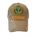 ARMY VETERAN HAT IN KHAKI , WITH SHADOW EMBROIDERY