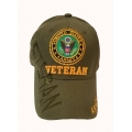 ARMY VETERAN HAT IN OD GREEN , WITH SHADOW EMBROIDERY
