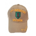 1ST INFANTRY DIVISION KHAKI HAT WITH SHADOW SIDE EMBROIDERY