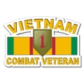 1st Infantry Division Vietnam Combat Veteran with Ribbon Decal