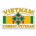 4th Infantry Division Vietnam Combat Veteran with Ribbon Decal