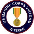 US Marine Corps Vietnam Vetean with Medal Decal Sticker