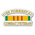 USS Forrestal CV-59 Vietnam Combat Veteran with Ribbon Decal