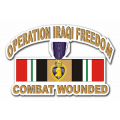 "Operation Iraqi Freedom Sticker (OIF ) Purple Heart Combat Wounded with Ribbon Decal Sticker (3.8"")"