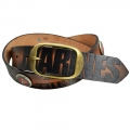MARINE CORPS LEATHER BELT WITH RAISED EMBLEMS