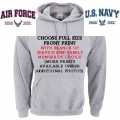 PROUD AIR FORCE OR NAVY FAMILY- GREY HOODIE -  CHOOSE YOUR PRINT/DESIGN