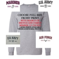 PROUD ARMY OR MARINE  FAMILY- GREY LONG SLEEVE T-SHIRT-  CHOOSE YOUR PRINT/DESIGN