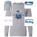 AIR FORCE GREY LONG SLEEVE SHIRT- CHOOSE YOUR PRINT/DESIGN
