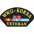 "PATCH-WWII,HAT W/KOREA (3""X5-1/4"")"