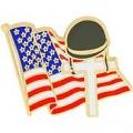 """MEMORIAL FLAG / CROSS PIN (1-1/8"""")"""