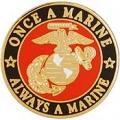"""PIN-USMC LOGO, ONCE A, RND (1"""")"""