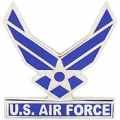 "PIN-USAF LOGO II, WINGS W/TAB-STRAIGHT (1"")"