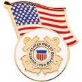 "PIN-USCG, LOGO, W/USA FLAG (1-1/4"")"