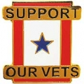 "FAMILY MEMBER IN SERVICE , BLUE STAR SUPPORT OUR VETS PIN (1"")"