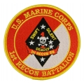 MARINE CORPS 1ST RECON BATTALION VIETNAM VETERAN PATCH. 4""