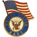 "PIN-USN LOGO, W/USA FLAG (1-1/4"")"