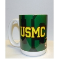 GOLD USMC ON GREEN MUG