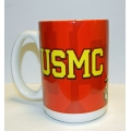 GOLD USMC ON RED MUG