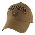 CAP- RETIRED W/NAVY LOGO (COYOTE BRN)