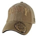 CAP-ARMY W/SEAL ON BILL LOGO (COYOTE BRN) (WASHED)