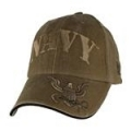CAP-NAVY W/ LOGO ON BILL LOGO (COYOTE BRN) (WASHED)