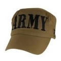 CAP-ARMY (BLOCK LTTRS FLAT TOP) (COYOTE BRN)