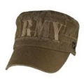 CAP-ARMY (BLOCK LTTRS FLAT TOP)(WASHED) (COYOTE BRN)