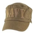 CAP-NAVY(BLOCK LTTRS FLAT TOP)(WASHED) (COYOTE BRN)