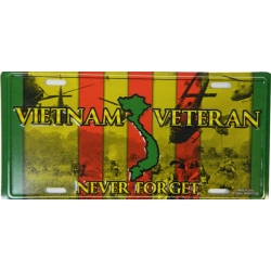 VIETNAM VETERAN - NEVER FORGET LICENSE PLATE