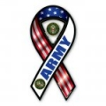 2-in-1 Red, White, and Blue Army Ribbon Magnet