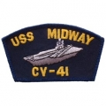 "PATCH-USN, HAT, USS, MIDWAY (2-1/4""X4"")- WITH THE OPTION TO HAVE IT ADDED TO A HAT"