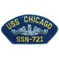 "PATCH-USN, HAT, USS, CHICAGO (2-3/4""X5-1/4"")- WITH THE OPTION TO HAVE IT ADDED TO A HAT"
