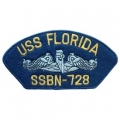 "PATCH-USN, HAT, USS, FLORIDA (2-3/4""X5-1/4"")- WITH THE OPTION TO HAVE IT ADDED TO A HAT"
