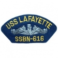 "PATCH-USN, HAT, USS, LAFAYET (2-3/4""X5-1/4"")- WITH THE OPTION TO HAVE IT ADDED TO A HAT"