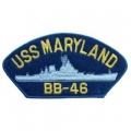 "PATCH-USN, HAT, USS, MARYLAN (2-3/4""X5-1/4"")- WITH THE OPTION TO HAVE IT ADDED TO A HAT"