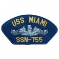 "PATCH-USN, HAT, USS, MIAMI SSN (2-3/4""X5-1/4"")- WITH THE OPTION TOHAVE IT ADDED TO A HAT"