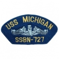 "PATCH-USN, HAT, USS, MICHIGA (2-3/4""X5-1/4"")- WITH THE OPTION TO HAVE IT ADDED TO A HAT"