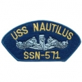 "PATCH-USN, HAT, USS, NAUTILU (2-3/4""X5-1/4"")- WITH THE OPTION TO HAVE IT ADDED TO A HAT"