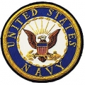 "PATCH-USN LOGO, GOLD BULLION (LRG) (4"")"